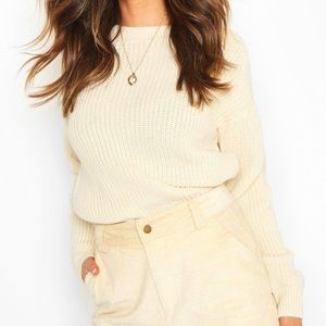 NWT Boohoo Fisherman Crew Neck Sweater